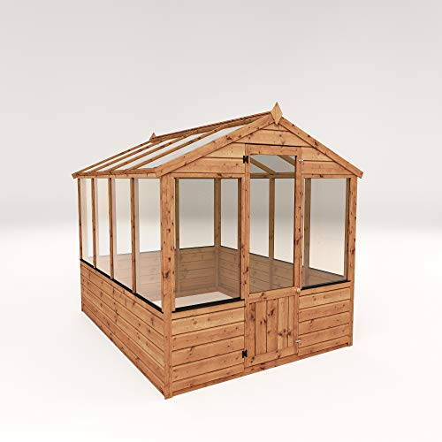 WALTONS EST. 1878 Wooden Garden Greenhouse 8x6 Outdoor Storage Potting Shed, Apex Roof (8 x 6 / 8Ft x 6Ft)