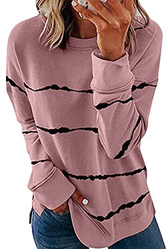 SMENG Mode Damen Pullover Damen Gestreiftes Sweatshirt Damen Komfortabel Langarmshirt Damen Beiläufig Pullover Tunika-Top Rosa L