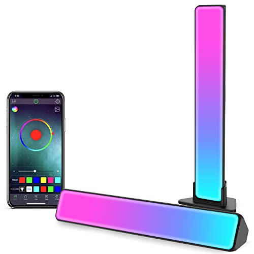 Zuukoo Smart Luces LED, RGB Tiras LED con Múltiples Efectos de iluminación y Modos de Música, Lampara Gaming, Luz de Humor, Inteligentes Flow Light Bar para PC, TV, Decoración de habitaciones