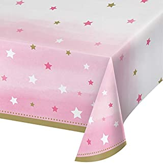 One Little Star Girl Plastic Tablecloths, 3 ct