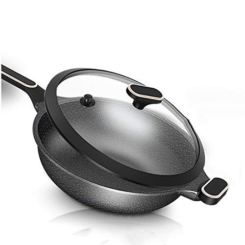 DAGONGREN Sartén Antiadherente Con Revestimiento De Piedra Médica, Sartenes Para Chef Con Mango Resistente Al Calor, Uso Para Cocinas De Gas E Incucción (Size : 32cm)