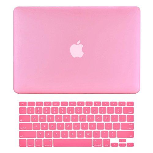 Top-Case–2in 1Bundle Deal Gummierte Hartschale + Tastatur Cover für MacBook weiß 33cm Unibody mit Topcase Maus Pad rose Macbook White A1342