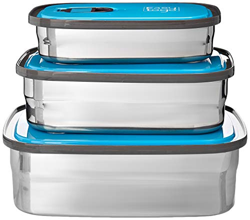 Leak Proof Bento Lunch Box Set | Reusable 3 Pack | Nesting Stainless Steel Metal Storage Food Containers for Men Women or Kids ● BPA Free ● Work/School Lunches Stainless Steel Durable Sandwich Box