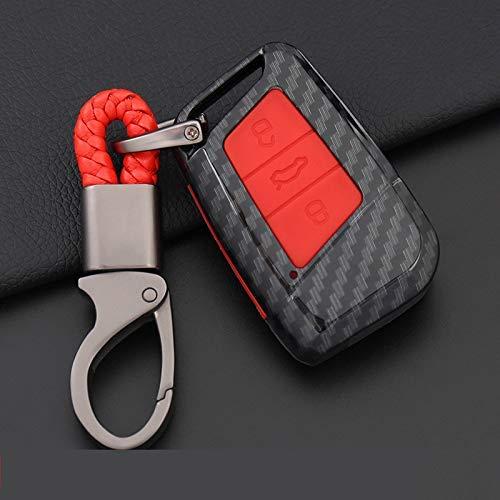 WYZXR 2 Juegos/Paquete de Fibra de Carbono Auto Car Key Case Cover/Car Smart Remote Control Key Case Cover/Car Key Protector Case/Car Key Shell Key Chain