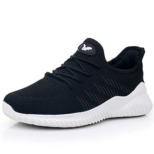 JARLIF Women's Memory Foam Slip On Walking Tennis Shoes Lightweight Gym Jogging Sports Athletic Running Sneakers Black 9.5 B(M) US