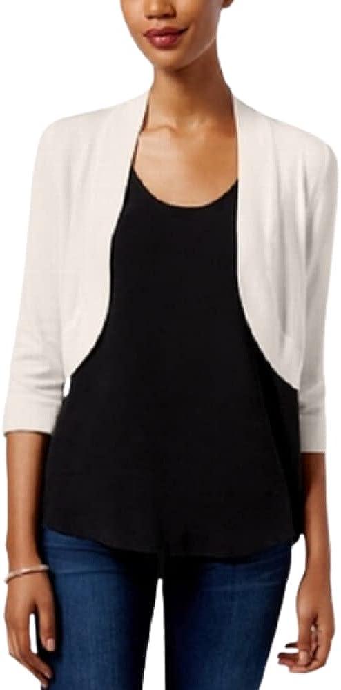 Jessica Howard Womens Ivory Ribbed 3/4 Sleeve Open Cardigan Sweater Size S