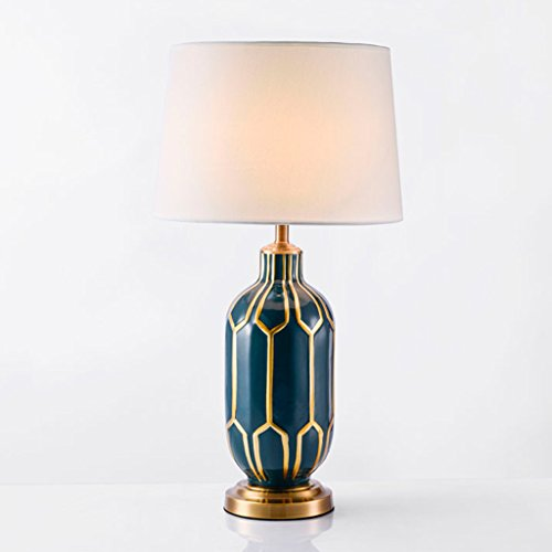 Bonne chose lampe de table Pastoral Blue Peint à la main Céramique American Flooring Modèle Décoration intérieure After The Modern Hotel Desk Lamp