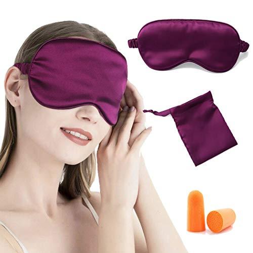 IYOU Máscara de dormir de seda de satén morada, máscara de seda de morera, máscara de ojos para dormir por la noche, viaje siesta con tapones para los oídos y correa elástica para mujeres y niñas