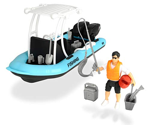 Dickie Toys 203833004 - Playlife Fishing Boat, Schlauchboot inkl. Figur, 20 cm