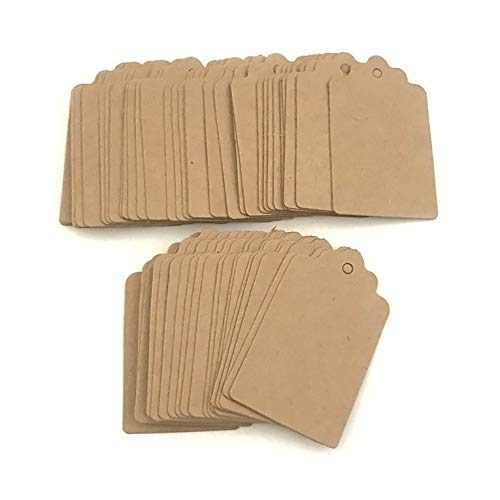 Tree-de-Life 100pcs Kraft Paper Multi-style Packaging Hang Tags Wedding/Birthday Party Candy Boxes Price Tags for Flower/Cosmetics Labels wooden