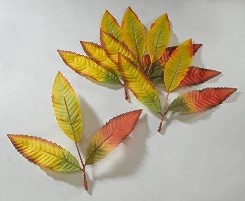 herbstlaubblätter multicolore, 24 pièces / Pack ,L:18cm , tissu / PLASTIQUE