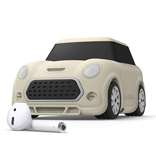 elago Mini Car Coche Funda AirPods con Mosquetón Diseñado para AirPods 2 & 1 - Faros y Luz Trasera Brillan en la Oscuridad (Blanco Clásico)