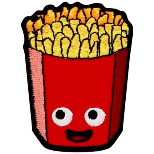 Happy Fries Parche para planchar o coser con diseño de patatas fritas francesas Caja roja Sonrisa Cara Geek Divertido Regalo Único Extraño Estudiante