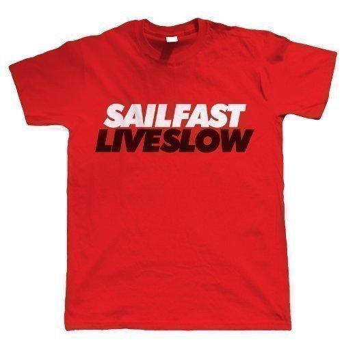Vectorbomb - T-Shirt Hommes Manches Courtes Imprimé Sail Fast Live Slow - Rouge, XX-L