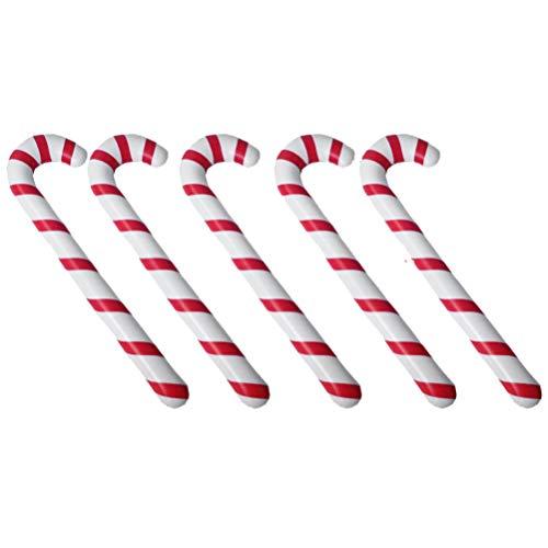 Tomaibaby Aufblasbarer Gehstock Weihnachten Zuckerstange Krücke Spielzeug Ballon Weihnachtsbaum Hängende Ornamente Christbaumanhänger für Yard Garten Xmas Party Supplies 5 Stück Rot Weiß