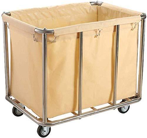 Dljyy Cart, Medical Cart, eetwagen, recoger, mobiele handel Heavy-Duty-wasmand soort wagen, stalen rolwas collector trolley, afneembare zak, 91 × 64 × 78 cm, bruin