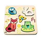 Tender Leaf Toys - Touchy Feely Animals - 5 Piece Wooden Shape Recognition and Dexterity Puzzle - Encourages Language Development - Kids 18 Months +