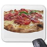 Anti-Rutsch-Mauspad aus Gummi, rechteckig, für Computer, Laptop, 20 x 24 cm, Original italienische Pizza mit Schinken, Tomaten und Basi Mauspad
