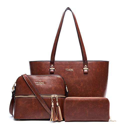 Purses and Wallets sets for Women Fashion Satchel Handbags Ladies Work Tote Bags Shoulder Bag 3pcs with matching purse Brown