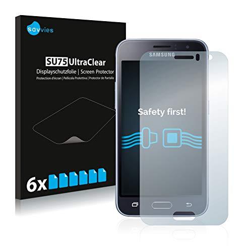 Savvies 6X Schutzfolie kompatibel mit Samsung Galaxy J1 2016 Bildschirmschutz-Folie Ultra-transparent