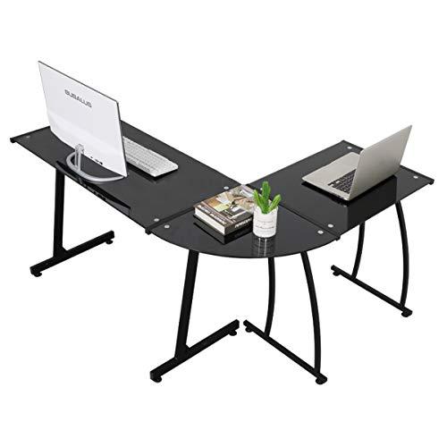 GreenForest L Shaped Desk Glass Corner Computer Gaming Desk 3-Piece Workstation PC Laptop Table for Home Office,Black