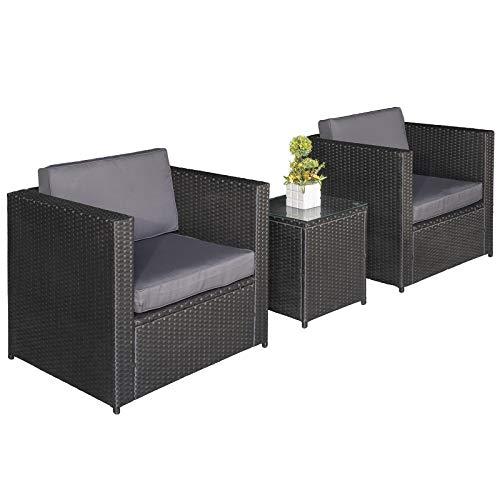 Outsunny 3 pcs PE Rattan Wicker Garden Furniture Patio Bistro Set Weave Conservatory Sofa Table Chair Set Black Wicker Grey Cushion