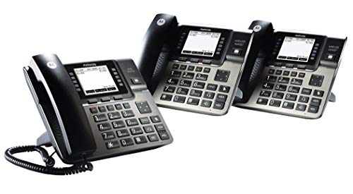Motorola ML1002D DECT 6.0 Expandable 4-line Business Phone System with Voicemail, Digital Receptionist and Music on Hold, Black, Base Station + 2 Wireless Desk Sets