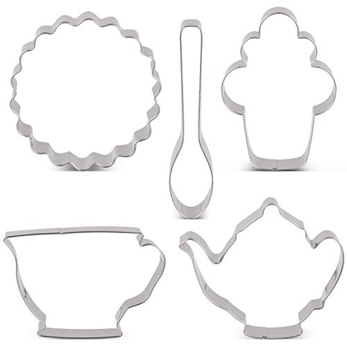 KENIAO Ausstecher Set Tee-Party Fondant Ausstechformen für Kinder - 5 Stück - Teekanne, Teetasse, Cupcake, Löffel und Untersetzer Keksausstecher - Edelstahl