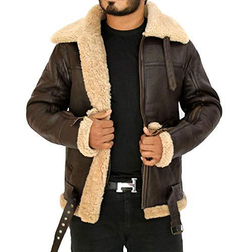 Men's Winter RAF B3 Real Sheepskin Shearling Flight Pilot Aviator Leather Jacket (XXL)