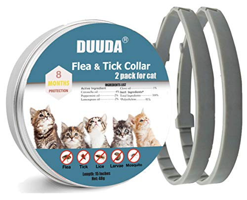 Price comparison product image Duuda 2 Pack of Flea and Tick Collar for Cats - 8 Months Continuous Protection and Prevention - Waterproof and 100% Natural Essential Oil Extract - Adjustable for All Breeds and Size