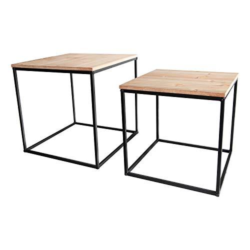 INDA-Exclusiv 2 mesas auxiliares de metal y madera, mesa decorativa para sofá, mesa de café, 39/45 x 36/42 cm