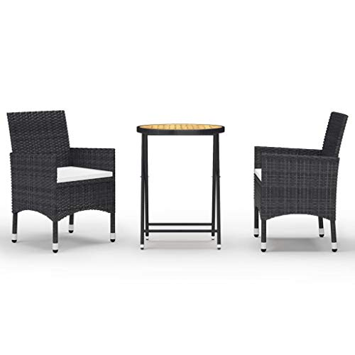 vidaXL Acacia - Set da bistro da giardino, 3 pezzi, per salotto da giardino e sedie da esterno, mobili da giardino, balcone, terrazzo, in resina intrecciata, colore: Nero