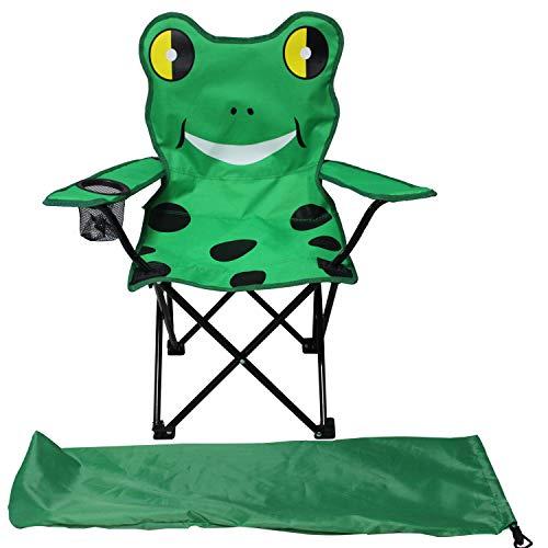 Kinder Anglersessel Campingstuhl Faltstuhl Anglerstuhl Motiv Frosch mit Getränkehalter und Tasche