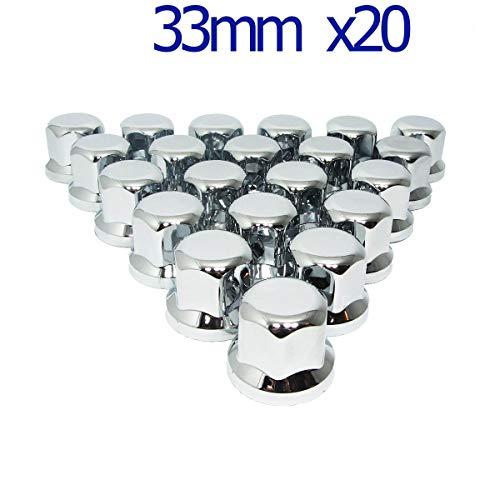 MGF 20 Stück 33 mm Chrom-Kunststoff-Radmuttern Abdeckungen für LKW Anhänger