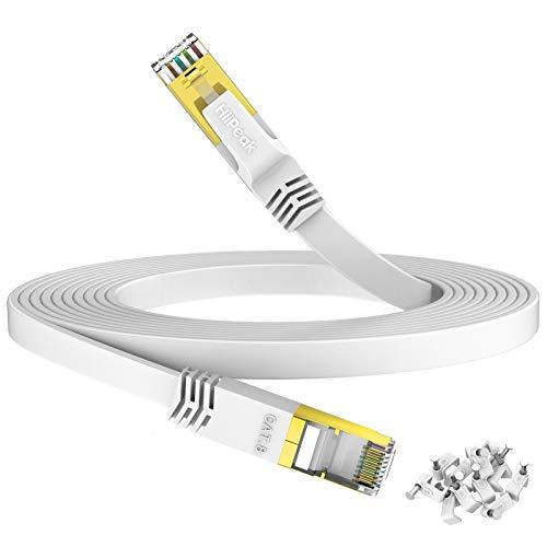 HiiPeak Flaches 15m Lan Kabel Netzwerkkabel Cat 8 R45 für Netzwerke mit 40 Gigabit/s und 2000 MHz, Ethernet Kabel Weiß