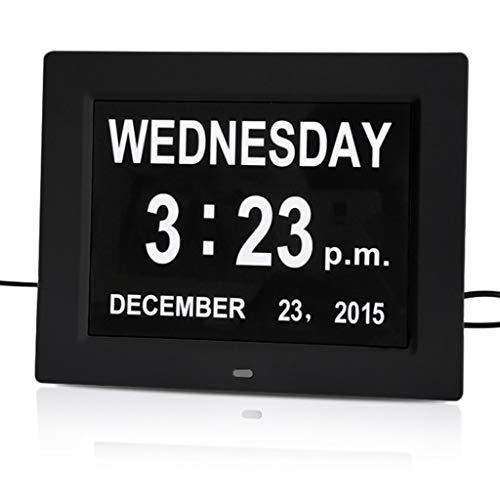 AILI Wetterstationen 8-Zoll-elektronischer Wecker Mehrsprachige Erinnerungsuhr 12/24 Stunden Anzeige von Monats- und Tageskalender Wetterstationen (Color : Black)