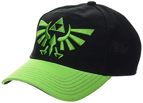 Bioworld EU Unisex Nintendo Legend of Zelda Embroidered Hyrule Crest Logo Curved Bill Baseball Cap, Black/Green (BA743103ZEL) Baseballkappe, Grün (Grün), One Size