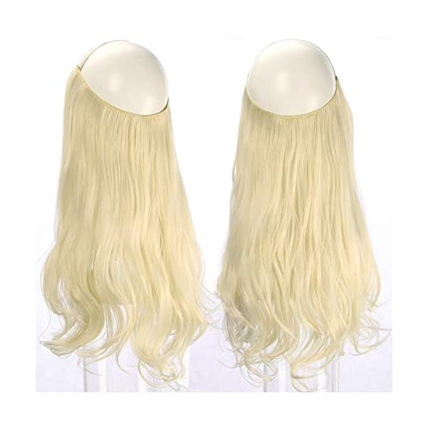 Beauty Shopping SARLA Halo Hair Extension Beach Blonde Curly Short Synthetic