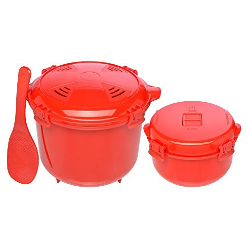 Sistema Microwave Cookware Set with Vented Lids - Large Microwave Steamer Cooker, Side Dish Bowl, Spoon and Recipes (Red Set; BPA Free, 100% Food Safe) (Cookware Set)
