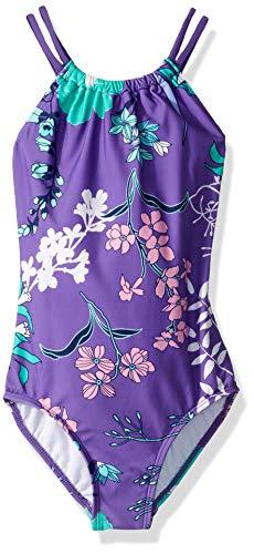 Kanu Surf Girls' Big Jasmine Beach Sport Halter One Piece Swimsuit, Paige Floral Purple, 10