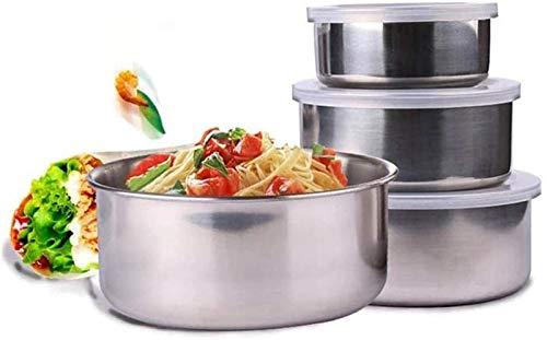 ccfgh 5 pièces de Stockage en Acier Inoxydable de Cuisine Bol Alimentaire Récipient avec Couvercle Boîte à Lunch Réfrigérateur Boîtes Sealed Organisateur Accueil Set Arts de la Table