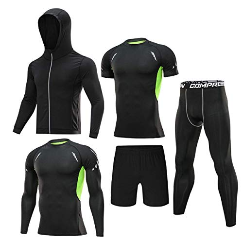 5pcs / Set Men's Tracksuit Gym Fitness Compression Sport Suit Clothes Running Jogging Sports Wear Exercise Workout Tights