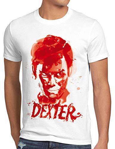 style3 Dexter Blutspur T-Shirt Herren Serie Mord Morgan Trinity serienkiller, Größe:XL, Farbe:Weiß
