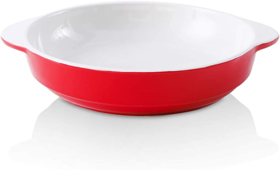 Red KOOV Ceramic Pie Dish with Handles 9 Inches Deep Dish Pie Pan Pie Plate for Dessert Kitchen Round Baking Dish for Dinner Baking Pan Step Series