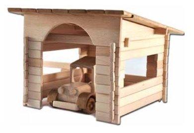 Garage zum Selbstbau Holz Spielzeug Massiv selber Bauen Kinder Konstruktion Bausatz