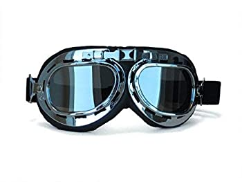 CRG Sports Vintage Aviator Pilot Style Motorcycle Cruiser Scooter Goggle T01 T01SSB Silver lens silver frame