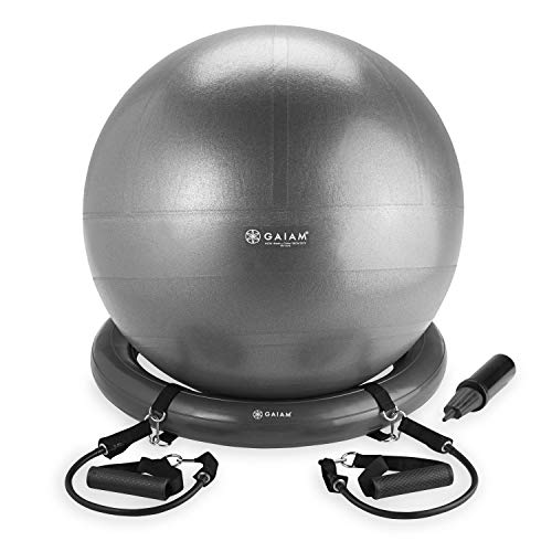 Gaiam Balance Ball, Base & Resistance Band Kit, 65cm Yoga Ball Chair, Exercise Ball with Inflatable Ring Base for Home or Office Desk, Includes Air Pump