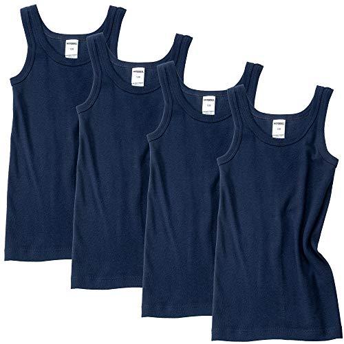 HERMKO 2800 4er Pack Jungen Unterhemd (Weitere Farben) Bio-Baumwolle, Farbe:Marine, Größe:104