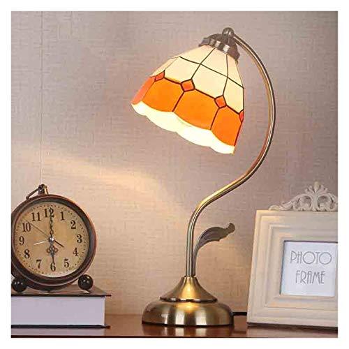 Lámpara de mesa de la mesa de noche de 5W LED LED Lámpara de mesa antigua con el proceso de enchapado de pantalla de cristal para dormitorio, sala de estar, oficina, mejores regalos ( Color : Orange )