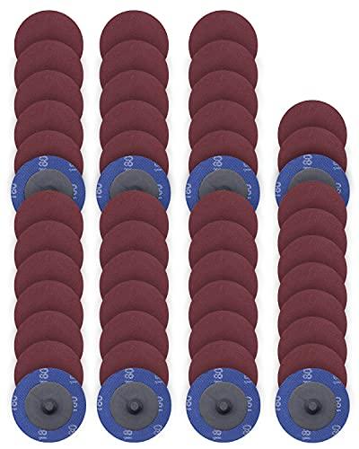 50 PCS SATC 2 Inch Roll Lock Disc 180 Grit Sanding Discs Set Fits Air Die Grinder Aluminum Oxide Quick Change Sanding Disc Roll Lock Assortment
